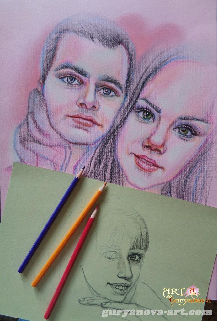 рисунки, портрет цветными карандашами, пастель, мелки, акварель