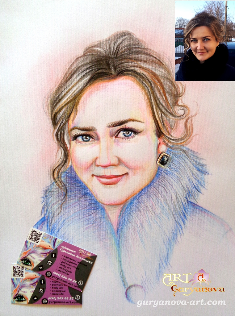портрет девушки с шубой