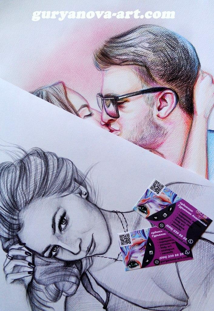 портрет карандашом, цветными карандашами