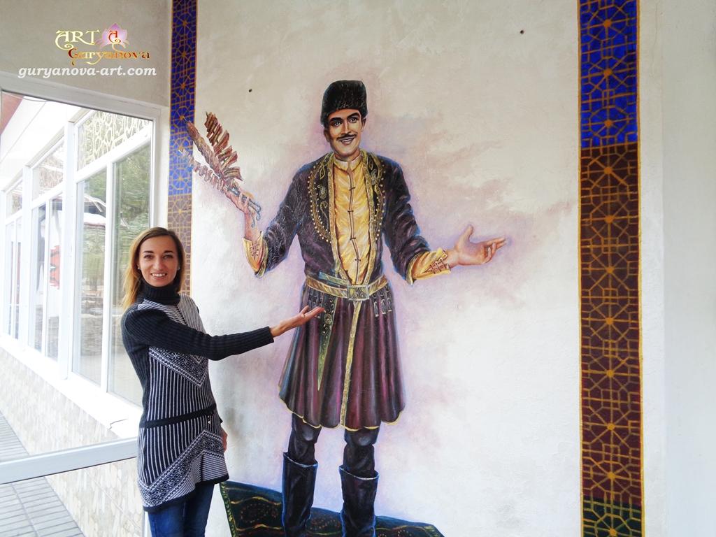 """Роспись стены в кафе """"Анталия"""" Азербайджанская кухня в городе Черкассы"""