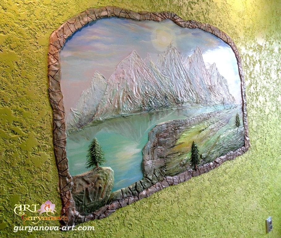 Фактурная роспись стены   квартиры художник Гурьянова Анастасия