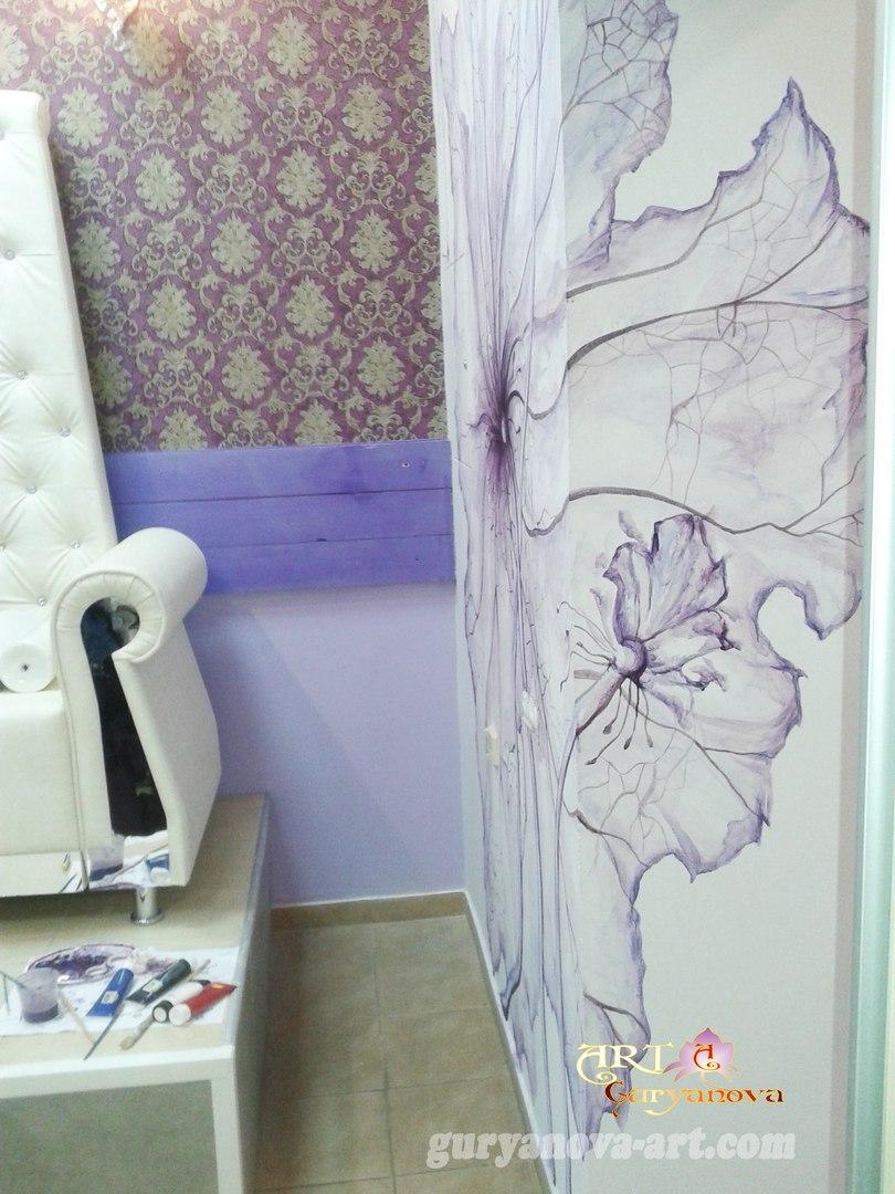 художественная роспись стен, картины салон красоты selfie code г. Черкассы