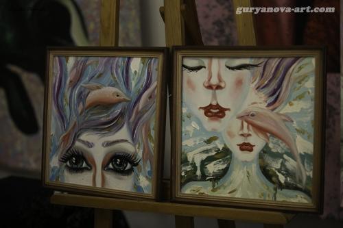 """Серия картин """"Розовые дельфины, фламинго, крыло ангела"""", морская тематика"""