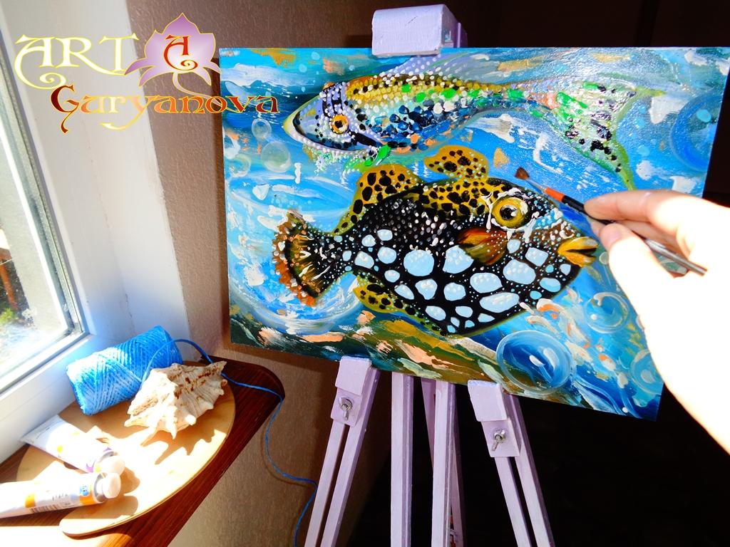 картины рыб масло рисовать живопись